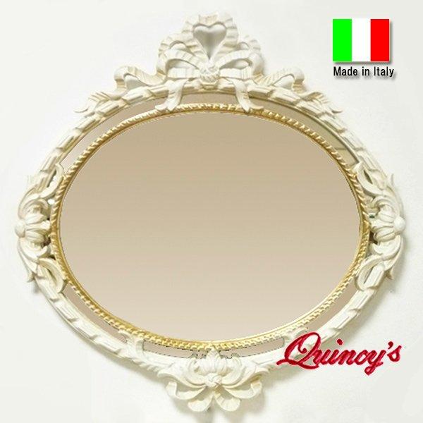 画像1: 【2208】イタリア製壁掛け ロココ調リボンミラー(ホワイト&ゴールド) (1)