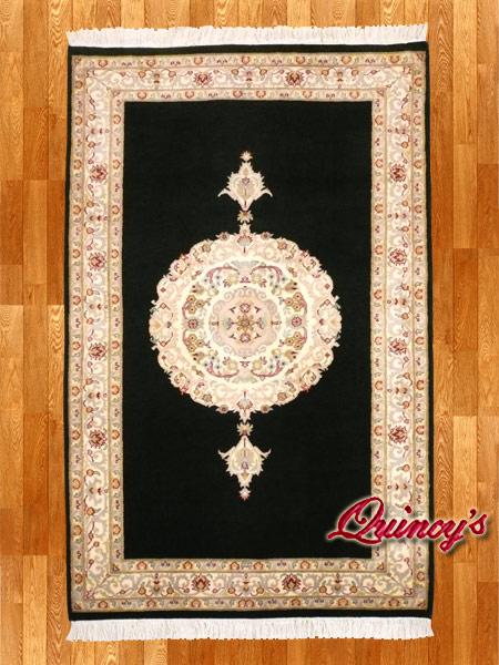 画像1: 【3192】ペルシャ絨毯 カシミア&ウール(黒×中央柄)