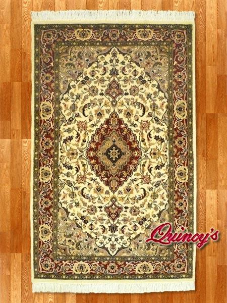 画像1: 【3198】ペルシャ絨毯 カシミア&ウール(煉瓦色×ベージュ)