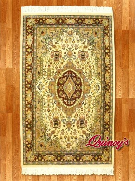画像1: 【3199】ペルシャ絨毯 カシミア&ウール(ブラウン×ベージュ)