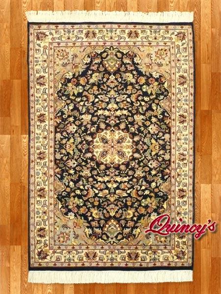 画像1: 【3196】ペルシャ絨毯 カシミア&ウール(紺×ベージュ)