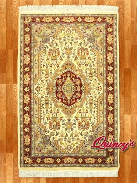 画像1: 【3197】ペルシャ絨毯 カシミア&ウール(赤×ベージュ)