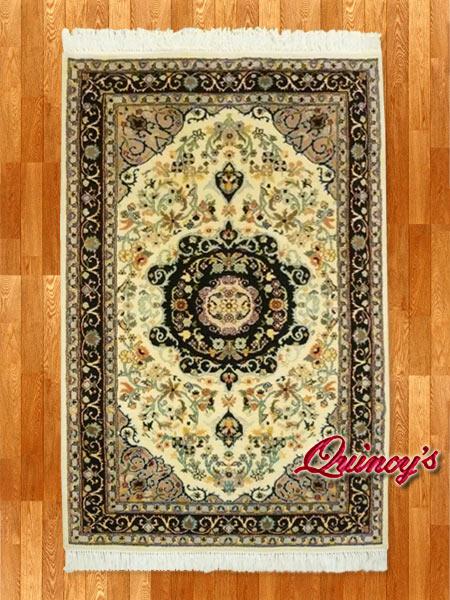 画像1: 【3202】ペルシャ絨毯 カシミア&ウール(紺×オフホワイト)
