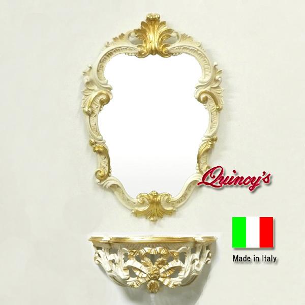 画像1: 【3439】(R)お得です・イタリア製 コンソール&ミラー(リボン)