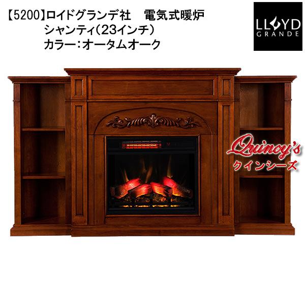 画像1: 【5200】 ロイドグランデ社(23インチ)電気式暖炉(シャンティ) マントルピース ※大理石組込み(オータムオーク)